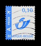 Prior stamp with blue Posthorn, Prior stamp serie, circa 2005. MOSCOW, RUSSIA - NOVEMBER 23, 2017: A stamp printed in Belgium shows Prior stamp with blue Royalty Free Stock Photos