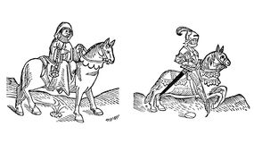 Prioress and Knight Stock Images