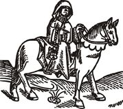 The Prioress woodcut isolated vector illustration. The Prioress woodcut (Geoffrey Chaucer's Canterbury tales, from Caxton's Edition of 1485) isolated vector Royalty Free Stock Images