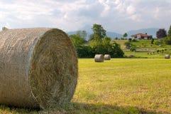 Priorità alta del rullo del fieno e casa rurale della priorità bassa Fotografie Stock Libere da Diritti