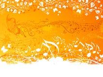 Priorità bassa arancione di musica Fotografie Stock