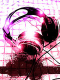 Priorità bassa artistica di musica del microtelefono del DJ Fotografia Stock Libera da Diritti