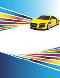 Priorità bassa artistica ed automobile gialla Immagine Stock Libera da Diritti