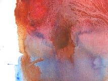 Priorità bassa astratta blu e marrone rossa dell'acquerello Fotografie Stock