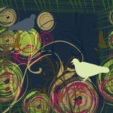 Priorità bassa astratta con due colombe Fotografie Stock Libere da Diritti