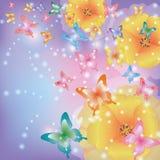 Priorità bassa astratta con i papaveri e le farfalle Immagine Stock