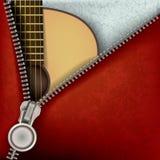 Priorità bassa astratta con la chitarra e la chiusura lampo aperta Immagini Stock