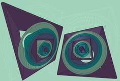 Priorità bassa astratta del cerchio 3D e del quadrato Fotografia Stock Libera da Diritti