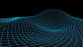 Priorità bassa astratta del Cyberspace Illustrazione di griglia del paesaggio wireframe di tecnologia 3d Maglia di Digital per le Fotografia Stock