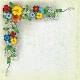 Priorità bassa astratta del grunge con i fiori della sorgente Immagine Stock