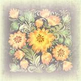 Priorità bassa astratta del grunge con l'ornamento floreale Fotografia Stock Libera da Diritti