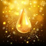 Priorità bassa astratta dell'oro Goccia dell'oro degli zecchini scintillanti Invito del modello di progettazione, festa, nuovo an Fotografia Stock Libera da Diritti