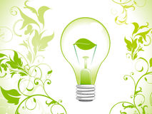 Priorità bassa astratta della lampadina di verde di eco Immagini Stock