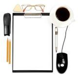 Priorità bassa astratta di affari con gli articoli per ufficio fotografia stock