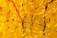 Priorità bassa astratta di autunno Rami, foglie Giallo rosso e arancio Fotografia Stock Libera da Diritti