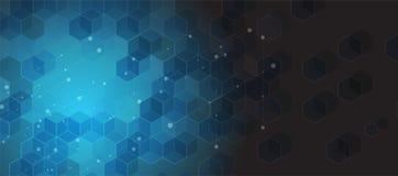 Priorità bassa astratta di esagono Progettazione poligonale di tecnologia Digita Immagini Stock