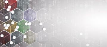 Priorità bassa astratta di esagono Progettazione poligonale di tecnologia Digita Immagine Stock