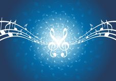 Priorità bassa astratta di musica - note musicali illustrazione di stock