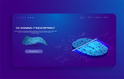 Priorità bassa astratta di tecnologia Concetto cyber di obbligazione Ricerca del dito nello stile futuristico Identificazione bio illustrazione di stock