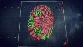 Priorità bassa astratta di tecnologia Concetto di sistema di sicurezza con l'esame dell'impronta digitale Fotografia Stock Libera da Diritti