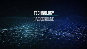 Priorità bassa astratta di tecnologia Griglia del fondo 3d Wireframe futuristico di tecnologia di Ai di tecnologia della rete cyb Fotografia Stock
