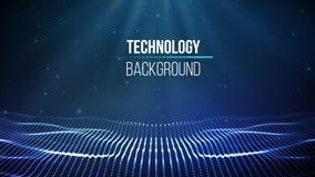 Priorità bassa astratta di tecnologia Griglia del fondo 3d Wireframe futuristico di tecnologia di Ai di tecnologia della rete cyb illustrazione vettoriale