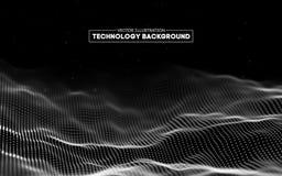 Priorità bassa astratta di tecnologia Griglia del fondo 3d Wireframe futuristico di tecnologia di Ai di tecnologia della rete cyb Immagine Stock Libera da Diritti