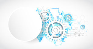Priorità bassa astratta di tecnologia Stile futuristico con trian blu illustrazione di stock