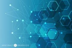 Priorità bassa astratta esagonale Grande visualizzazione di dati Collegamento di rete globale Medico, tecnologia, scienza royalty illustrazione gratis