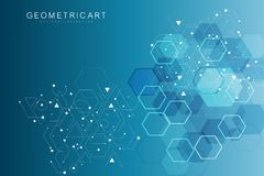 Priorità bassa astratta esagonale Grande visualizzazione di dati Collegamento di rete globale Medico, tecnologia, scienza illustrazione di stock
