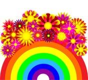 Priorità bassa astratta - un Rainbow e fiori Fotografie Stock Libere da Diritti