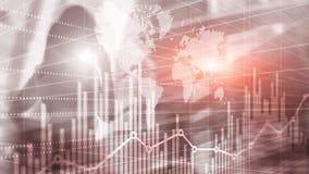 Priorità bassa astratta universale Siluette della gente di affari Grafico del grafico dello sviluppo economico Media misti di dop immagine stock libera da diritti