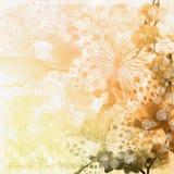 Priorità bassa beige con la farfalla Fotografia Stock