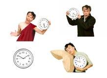 priorità bassa bianca isolata dell'orologio di tempo dell'uomo immagine stock