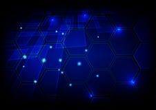 Priorità bassa blu alta tecnologia astratta Progettazione di massima di tecnologia Immagini Stock Libere da Diritti