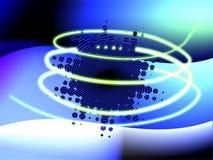 Priorità bassa blu astratta con la spirale gialla 3d Fotografia Stock