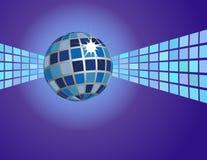 Priorità bassa blu astratta della sfera della discoteca Immagini Stock