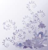 Priorità bassa blu con i fiori di loto e del giglio Immagine Stock Libera da Diritti