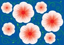 Priorità bassa blu con i grandi fiori e fogli rossi Immagine Stock Libera da Diritti