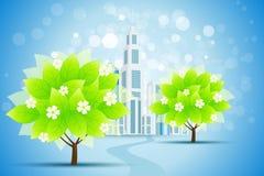 Priorità bassa blu con la città e gli alberi di affari royalty illustrazione gratis