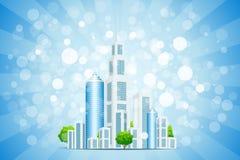 Priorità bassa blu con la città ed i raggi di affari Fotografia Stock Libera da Diritti