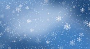 Priorità bassa blu del bokeh con i fiocchi di neve royalty illustrazione gratis