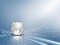 Priorità bassa blu di affari con il globo Immagini Stock