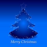 Priorità bassa blu di natale con l'albero e la stella Fotografia Stock Libera da Diritti