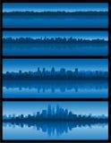 Priorità bassa blu di paesaggio urbano Fotografia Stock