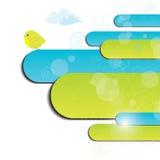 Priorità bassa blu e verde con l'uccello Fotografie Stock