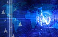 Priorità bassa blu scuro di tecnologia illustrazione vettoriale