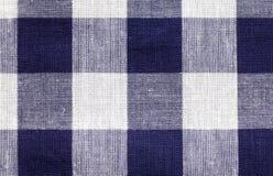 Priorità bassa checkered bianca blu del tessuto fotografia stock