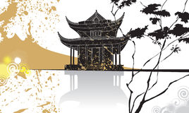 Priorità bassa cinese dell'estratto del pagoda Fotografia Stock