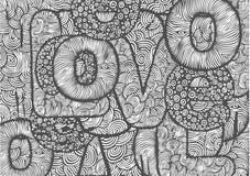 Priorità bassa con amore disegnato a mano delle lettere Fotografia Stock Libera da Diritti